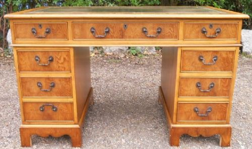 Yew  Pedestal Writing Desk